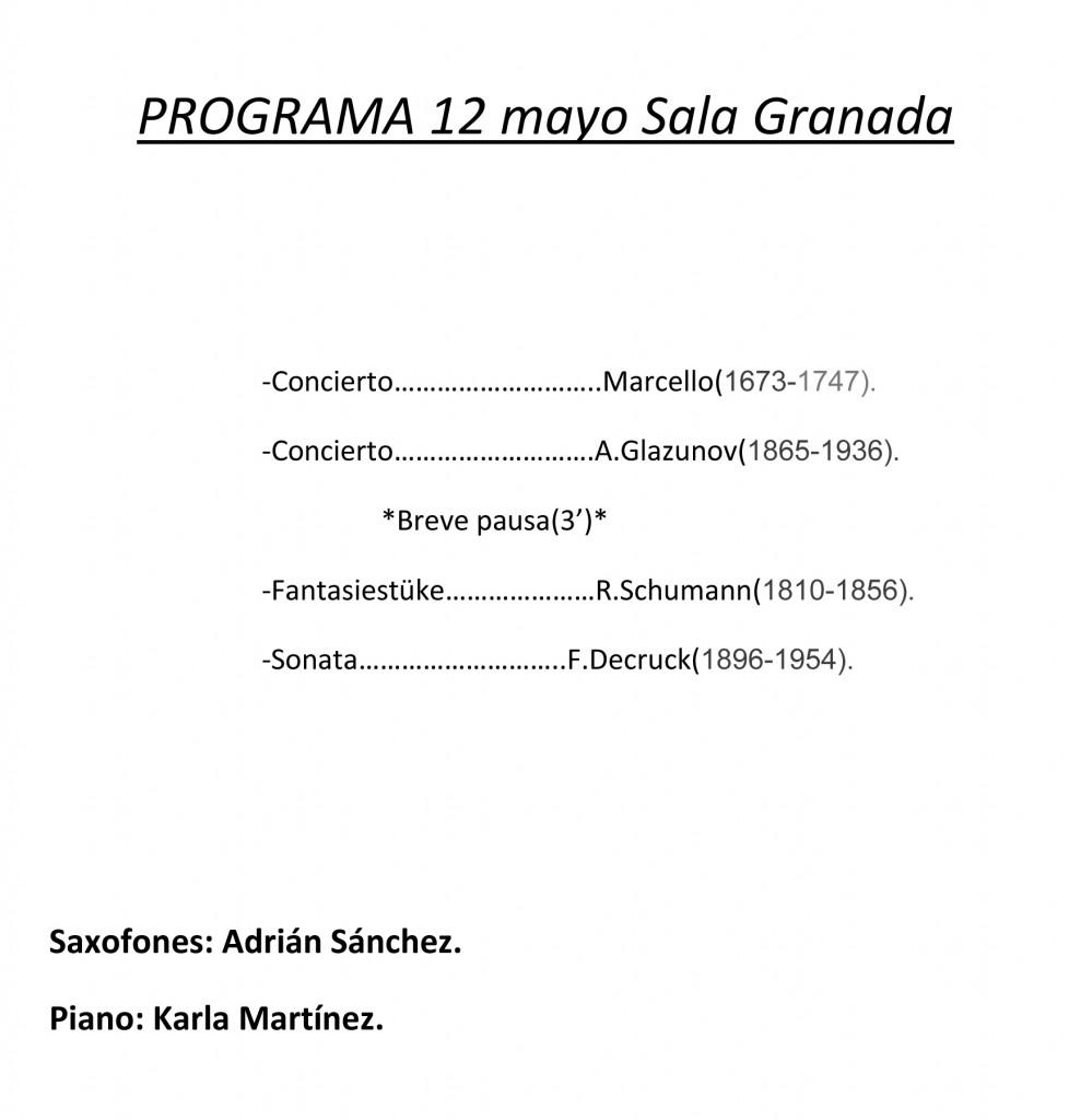 PROGRAMA 12 mayo Sala Granada