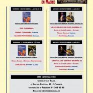 Programación de conciertos para el mes de NOVIEMBRE.